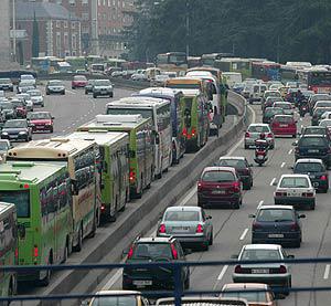 Embús de trànsit a les rodalies de Barcelona