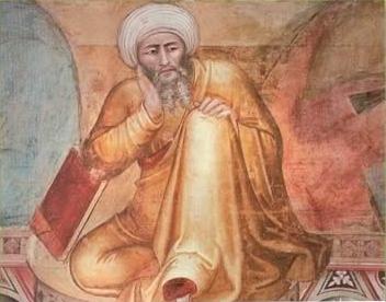 Detall del fresc de Andrea Bonaiuto El Triomf de Sant Tomàs, amb la imatge asseguda en repòs d'Averrois.