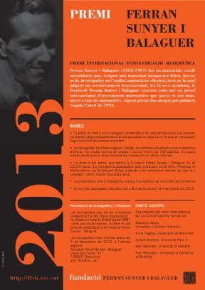 Premi Ferran sunyer i Balaguer 2013