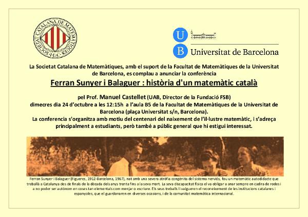 Ferran Sunyer i Balaguer: història d'un matemàtic català