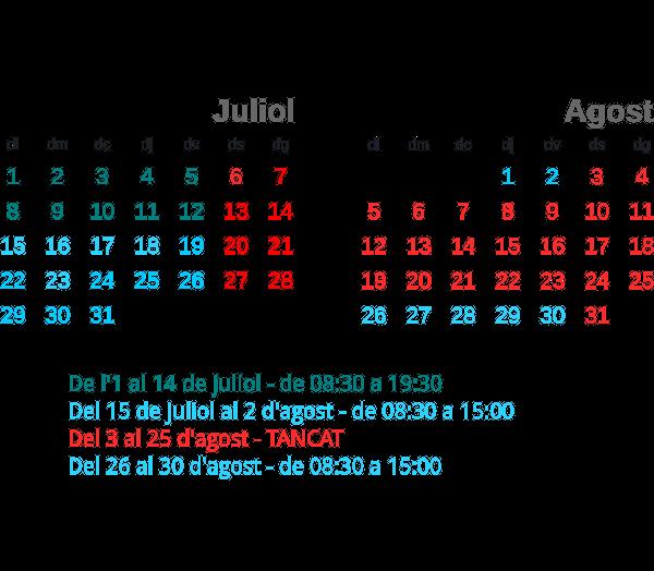Horaris d'estiu 2013