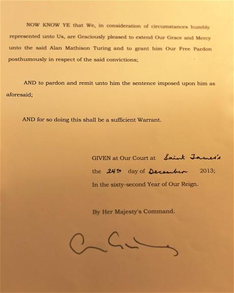 """Carta d'Elisabet II en què """"perdona"""" Alan Turing"""