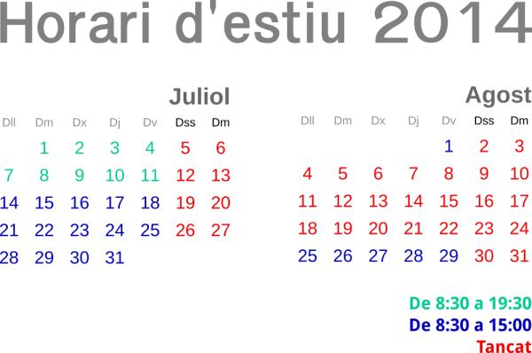 Horari d'estiu 2014