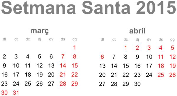 Calendari de Setmana Santa 2015
