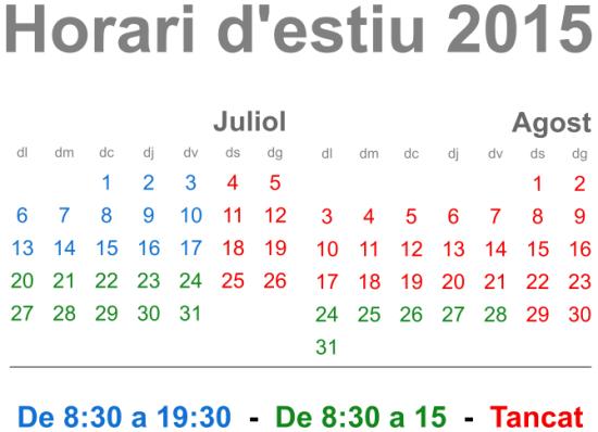 Horari d'estiu 2015