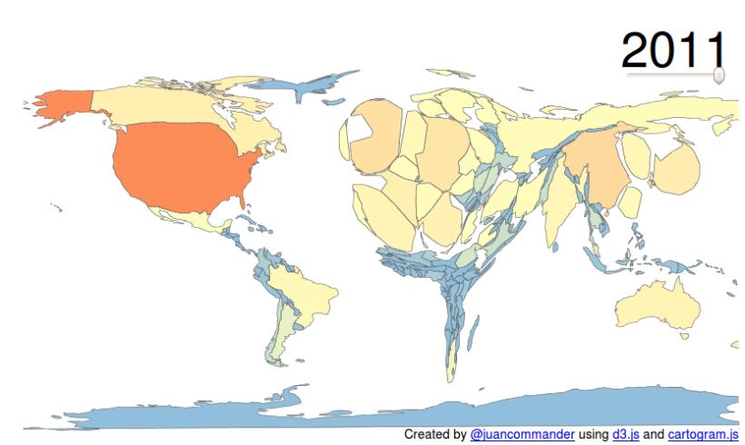 Mapa del món en funció dels documents presents a Web of Science en relació al lloc de residència de l'autor