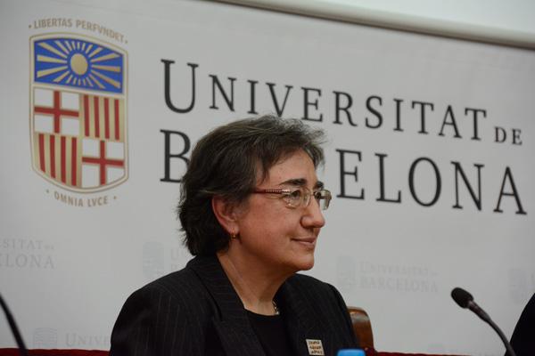 Pilar Bayer, catedràtica del Departament d'Àlgebra i Geometria de la Facultat de Matemàtiques de la UB
