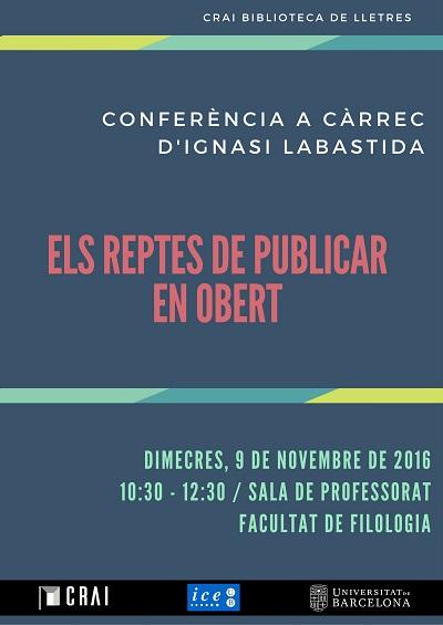 Els reptes de publicar en obert (9/11/2016 10.30 h)