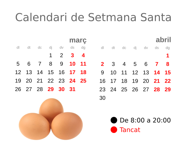 Calendari de Setmana Santa 2018