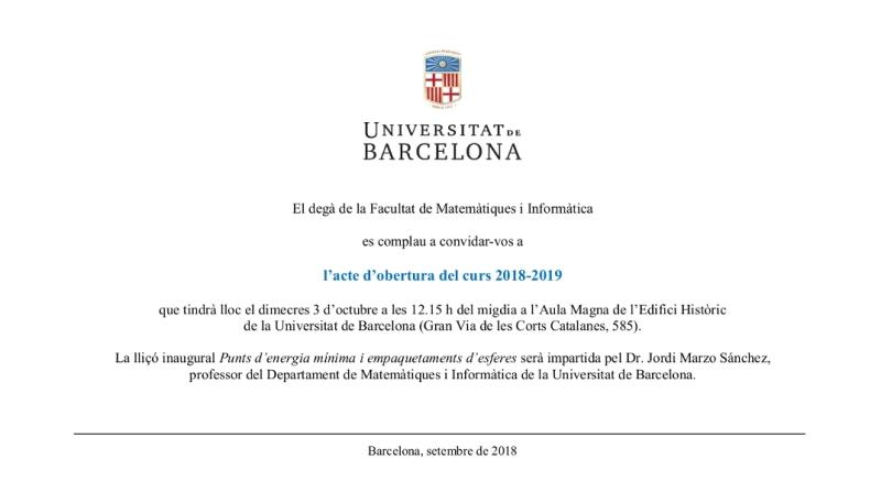 Acte d'inauguració del curs 2018-19