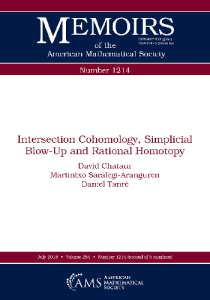 Intersection cohomology, simplicial blow-up and rational homotopy