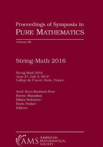 String-Math 2016 : June 27-July 2, 2016, Collège de France, Paris, France