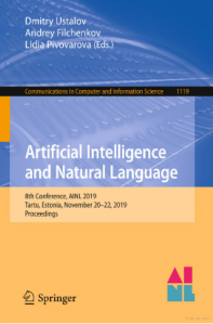 Artificial Intelligence and Natural Language : 8th Conference, AINL 2019, Tartu, Estonia, November 20–22, 2019, Proceedings