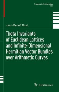 Theta invariants of Euclidean lattices and infinite-dimensional Hermitian vector bundles over arithmetic curves
